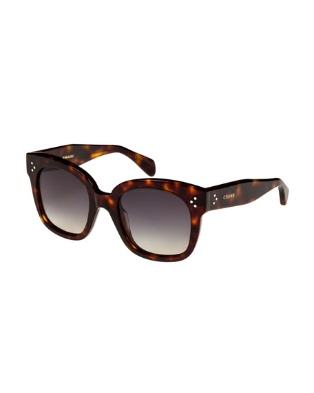 Celine Square Polarized Acetate Sunglasses, Blue Pattern