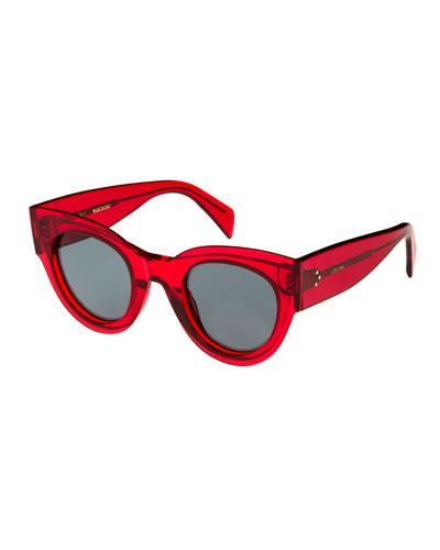 Studded Cat-Eye Acetate Sunglasses, Red Pattern
