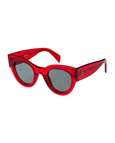 Studded Cat-Eye Acetate Universal-Fit Sunglasses, Red Pattern
