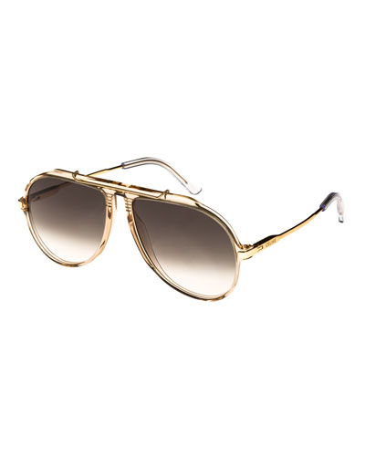 60MM GRADIENT AVIATOR SUNGLASSES - CHAMPAGNE/ GOLD/ GREEN
