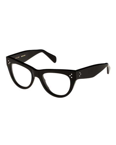 Cat-Eye Acetate Optical Frames, Black