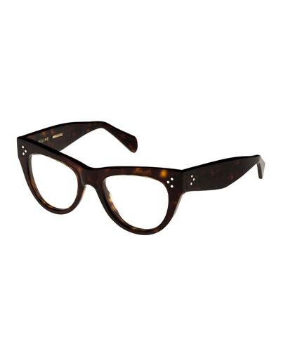 Cat-Eye Acetate Optical Frames, Light Brown