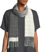 Hand-Loomed Striped-Pattern Fringe Scarf