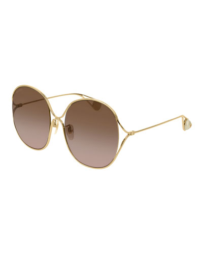 Round Open-Temple Metal Sunglasses