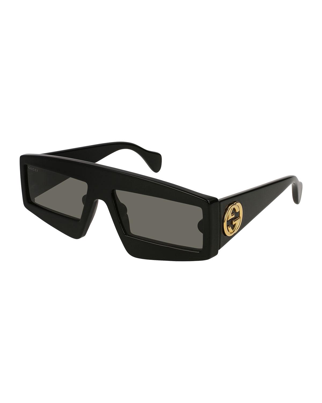 Exaggerated Rectangle Acetate Sunglasses