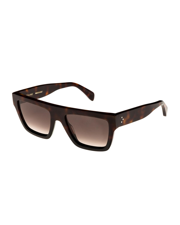 CELINE 59Mm Square Sunglasses - Blonde Havana/ Black/ Green