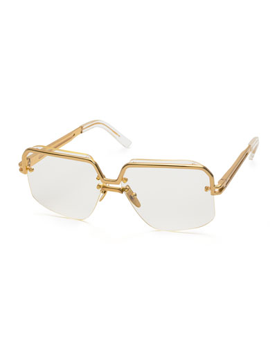 Rectangle Semi-Rimless Metal Sunglasses