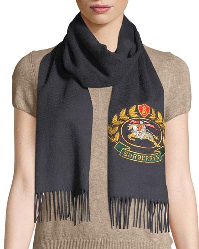 Vintage Crest Embroidered Cashmere Scarf