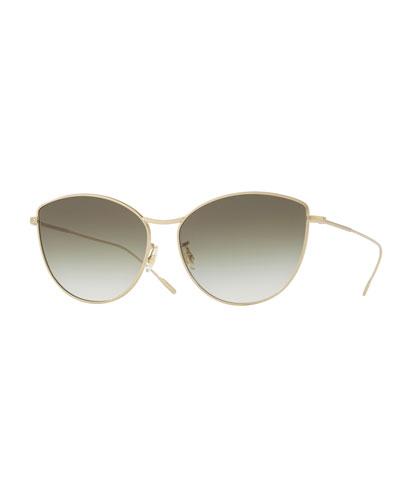 Rayette Vintage-Inspired Metal Cat-Eye Sunglasses, Gold
