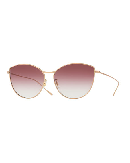 Oliver Peoples Rayette Vintage-Inspired Metal Cat-Eye Sunglasses, Rose Gold