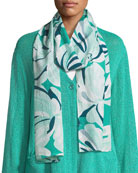 Along Grid Flowers-Print Scarf