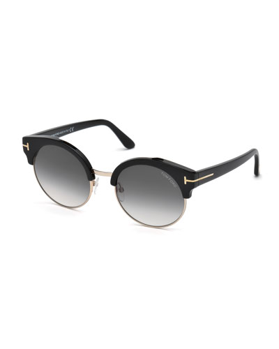 Alissa Semi-Rimless Round Sunglasses