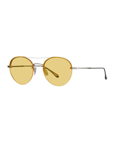 Beaumont Rounded Semi-Rimless Sunglasses