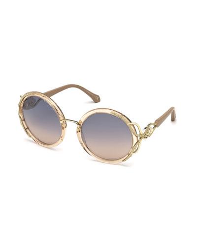Round Semi-Transparent Acetate Sunglasses