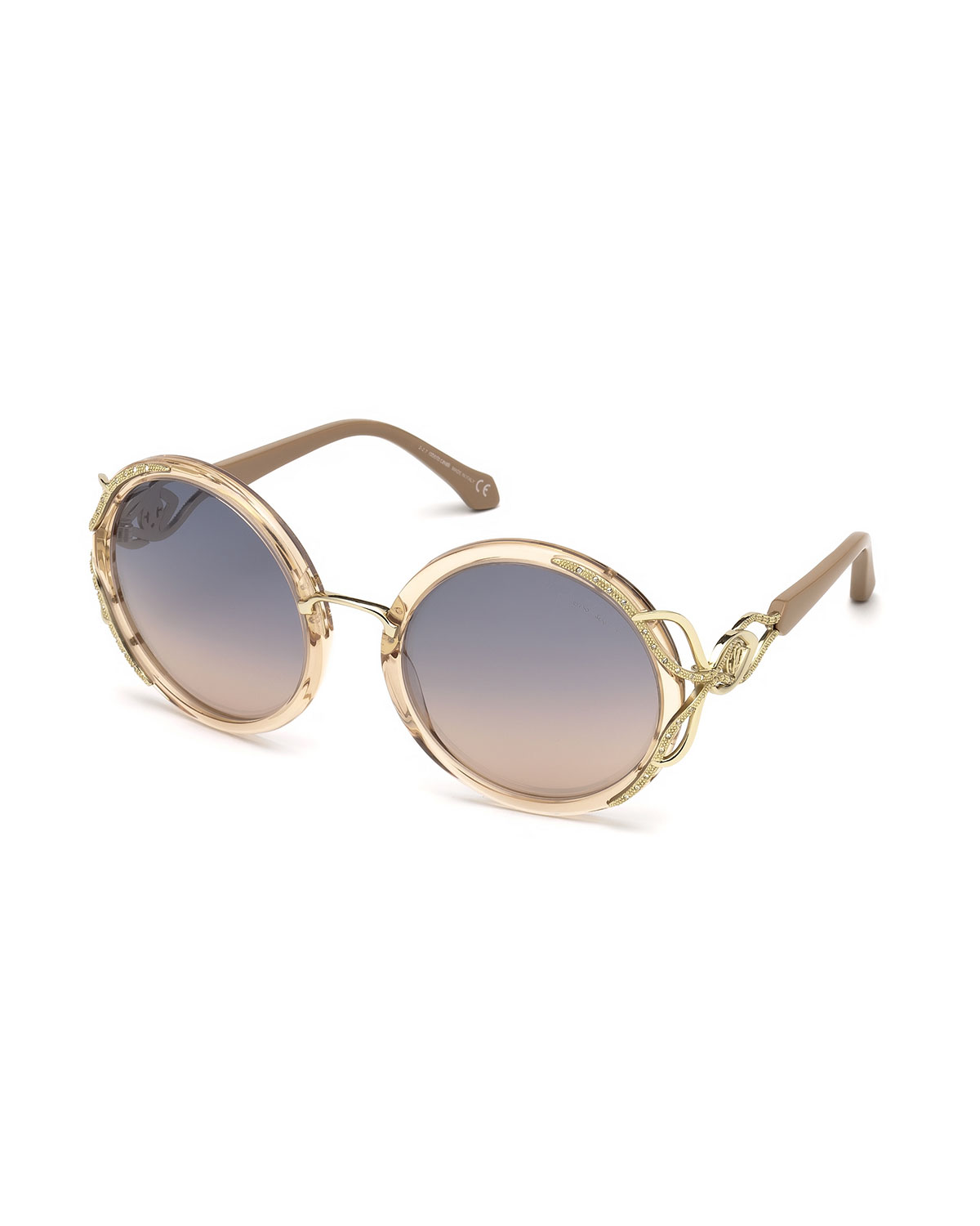Roberto Cavalli Sunglasses ROUND SEMI-TRANSPARENT ACETATE SUNGLASSES