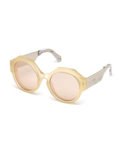 Thick Round Mirrored Sunglasses