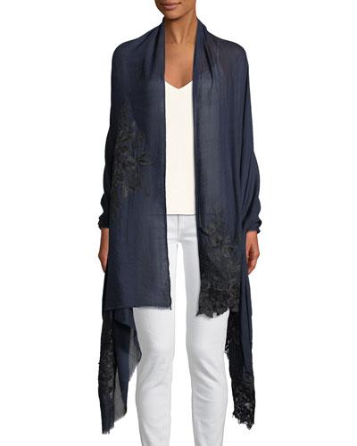 Wool-Silk Lace-Trim Stole
