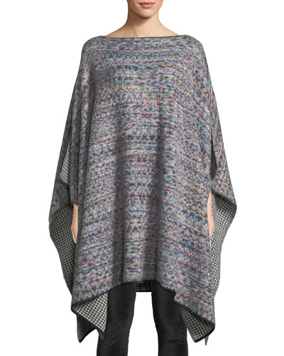 Reversible Knit Wool-Mohair Poncho