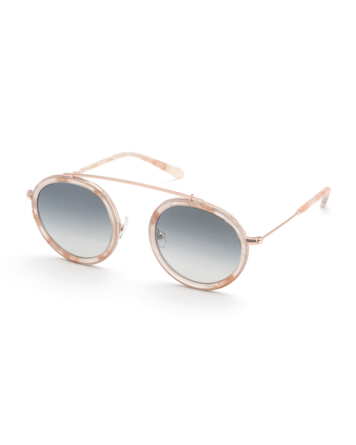 KREWE Conti Women'S Mirrored Brow Bar Round Sunglasses, 46Mm in Azalea Rose Gold