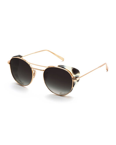 Orleans Round Gradient Sunglasses w/ Side Blinders