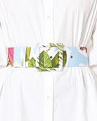 Floral Collage-Print Wide Belt