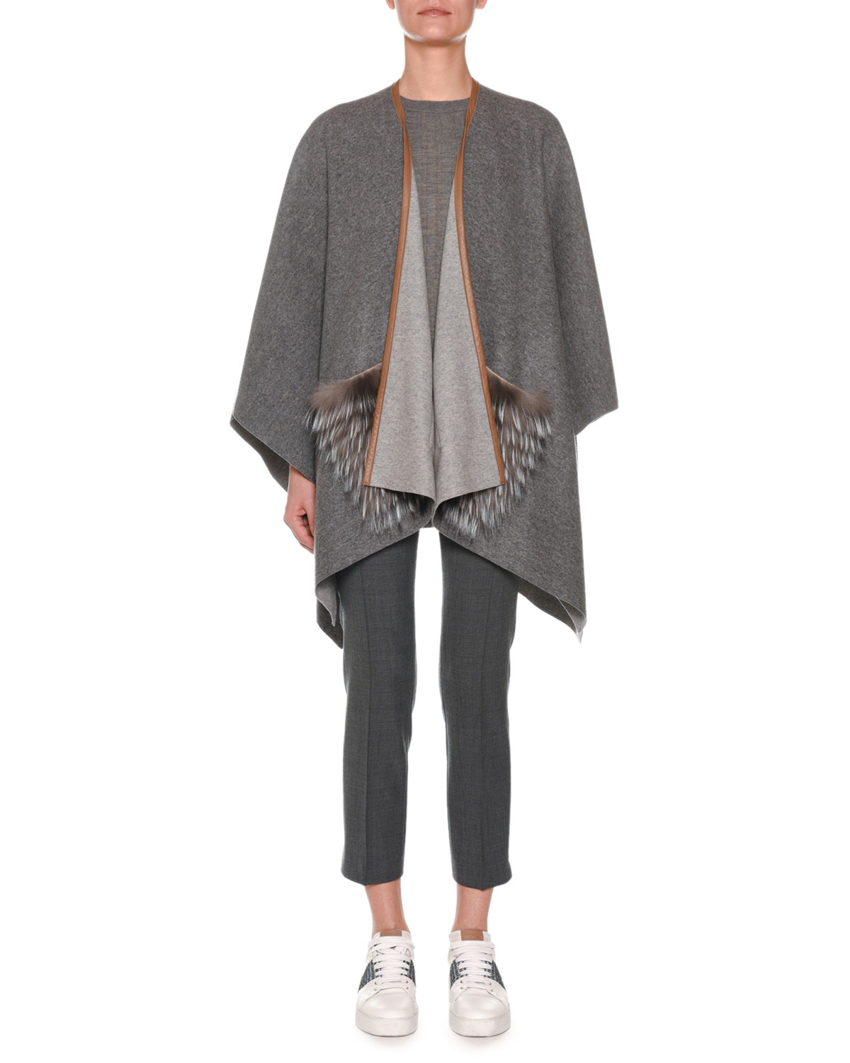 Open-Front Cashmere Shawl with Fur Pockets
