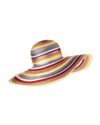 Big Striped Woven Floppy Sun Hat