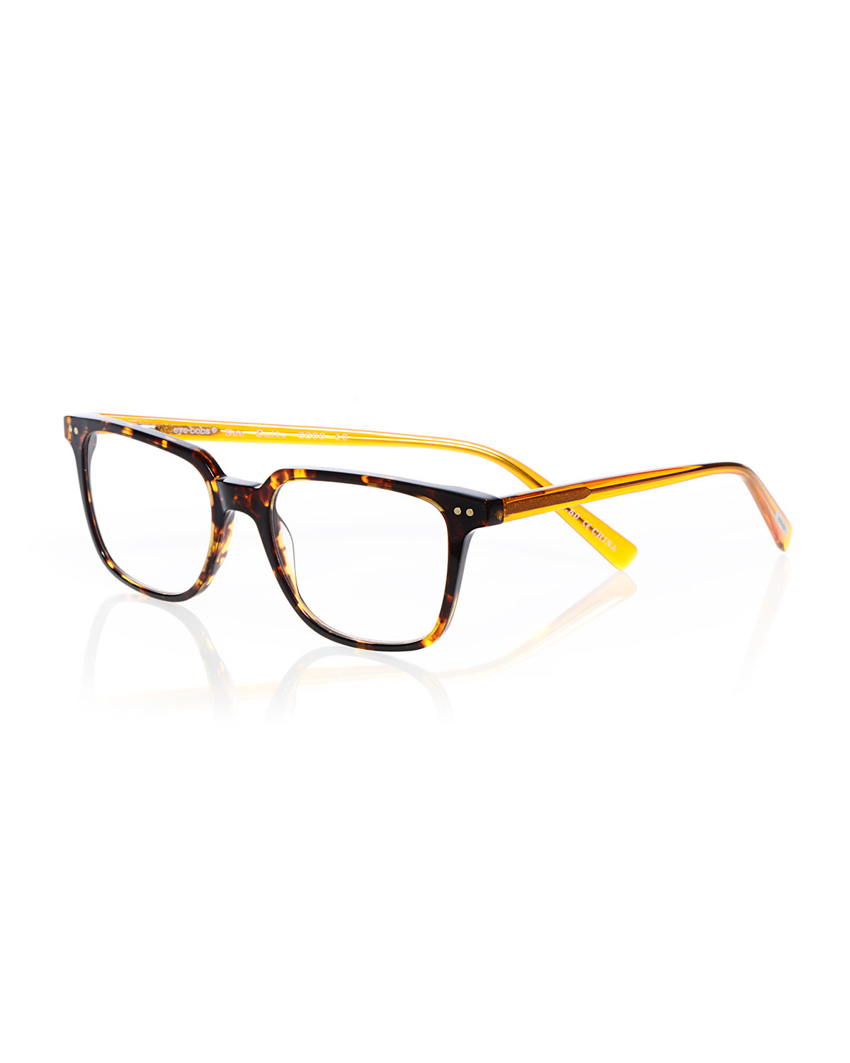 EYEBOBS C Suite Square Acetate Reading Glasses in Tortoise/Yellow