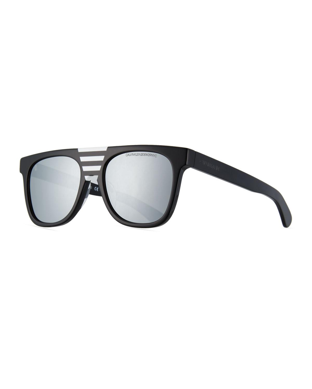 Flattop Acetate Mirrored Sunglasses W/ Contrast Striped Nose Bridge, Black Stripes
