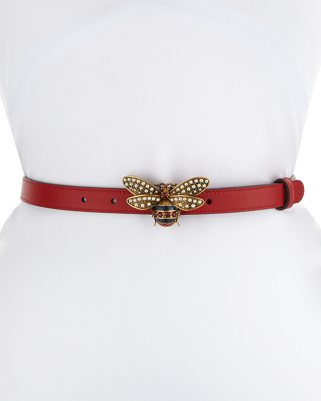 Queen Margaret Leather Belt w/ Embellished Bee Buckle