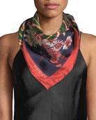 Gucci GG Chain & Bouquet Print Silk Scarf