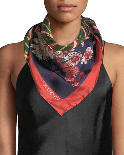 GG Chain & Bouquet Print Silk Scarf