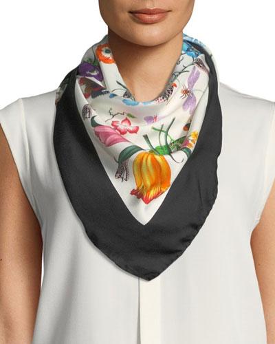 a6880443fa8 Floral Square Silk Scarf | Neiman Marcus