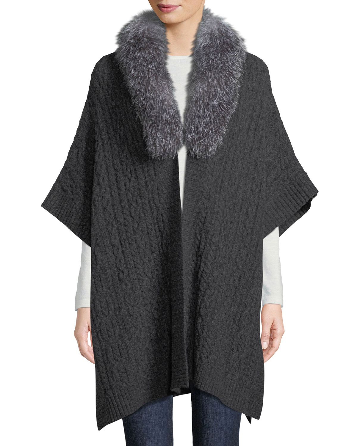 Luxury Cashmere Fur-Collar Cape