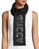 Gucci Guccy Game Rib-Knit Crystal-Embellished Scarf