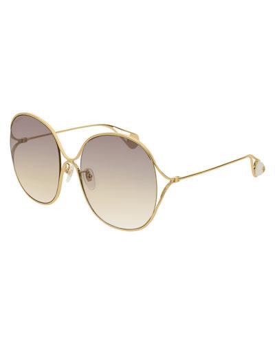 Round Open-Temple Metal Sunglasses