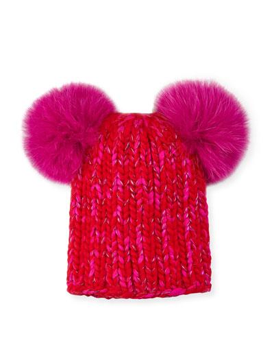 4bbf931af8d Quick Look. Eugenia Kim · Mimi Metallic Knit Beanie Hat w  Fur Pompoms