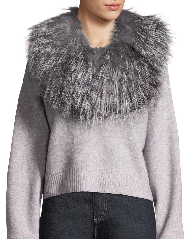 ADRIENNE LANDAU Stretch Fur Cowl Infinity Scarf in Natural/Silver