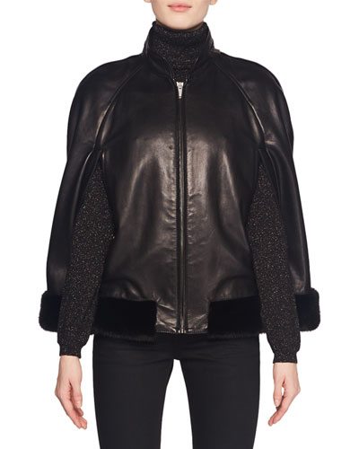 Leather Zip-Front Cape Jacket w/ Mink Fur Trim