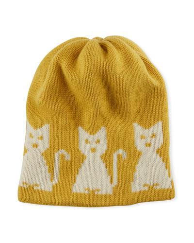 Wool-Cashmere Cat-Intarsia Beanie Hat