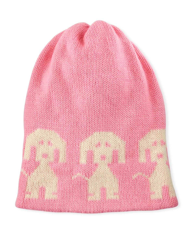 Wool-Cashmere Dog-Intarsia Beanie Hat