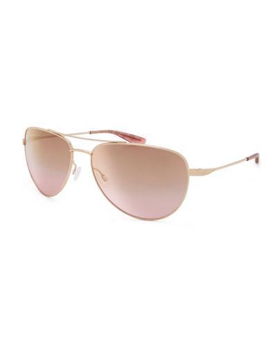 Five-Star Mirrored Aviator Sunglasses, Rose Gold