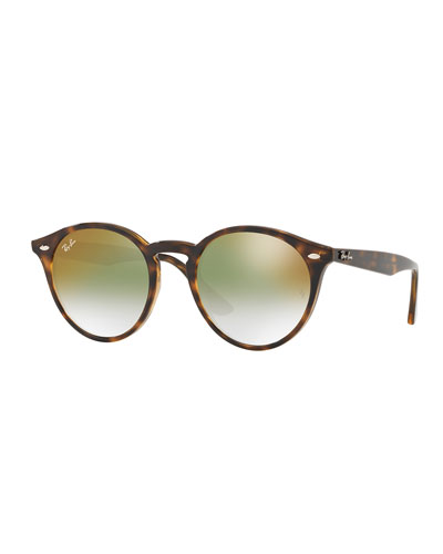 Round Mirrored Iridescent Sunglasses