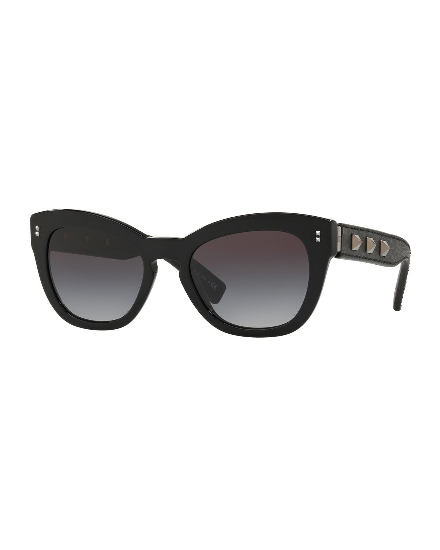 Gradient Butterfly Acetate Sunglasses w/ Rockstud Trim