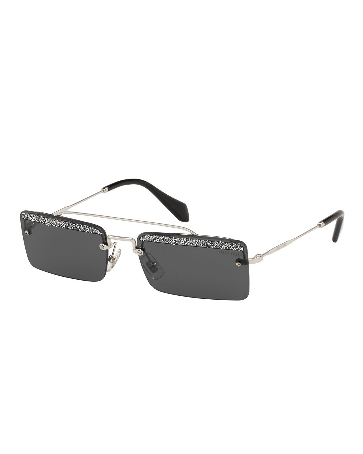 Women'S Embellished Brow Bar Square Sunglasses, 58Mm in Black
