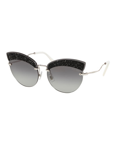 Semi-Rimless Glittered Cat-Eye Sunglasses