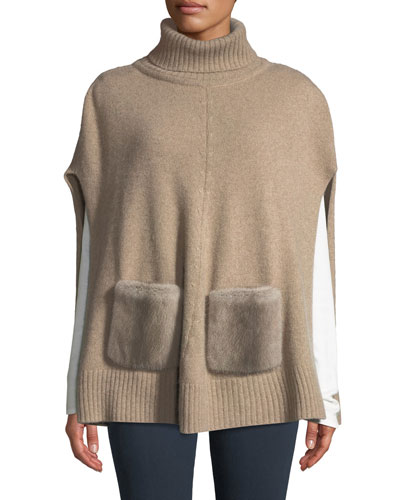 Cashmere Turtleneck Poncho w/ Fur Pockets