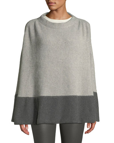 Colorblock Cashmere Poncho w/ Crystal Detail