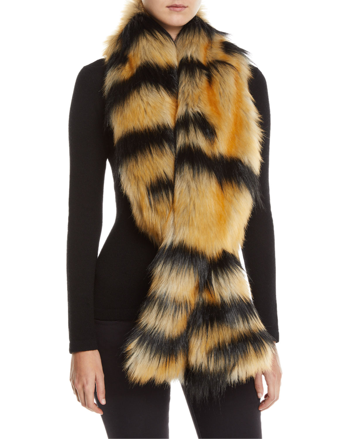 FABULOUS FURS Oversized Pull-Through Scarf in Crystal Fox