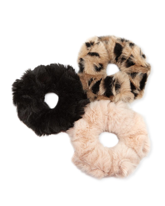 FABULOUS FURS Couture Faux-Fur Hair Scrunchies, Set Of 3 in Multi